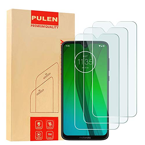 [3-Pack] PULEN for Motorola Moto G7 Screen Protector,Moto G7 Plus Screen Protector,HD Anti-Fingerprints Scratch Resistance Bubble Free 9H Hardness Tempered Glass for Moto G7/Moto G7 Plus,6.2 2019