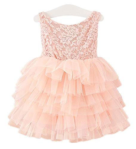 APRIL GIRL Flower Girl Dress, Lace Dress 3/4 Sleeve Dress (Light Pink Tutu, 18-24 Months)