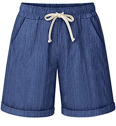 - HOW'ON Women's Elastic Waist Casual Comfy Cotton Beach Shorts with Drawstring Denim Blue XL