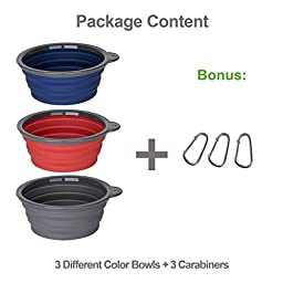 Roysili 3 Pack Jumbo Size Collapsible Dog Bowl (5 Cups,40oz), FDA Approved BPA Free Silicone Travel Bowl for Dog Cat Food & Water, Foldable Portable Travel Cup Free Carabiner (Blue+Red+Grey)