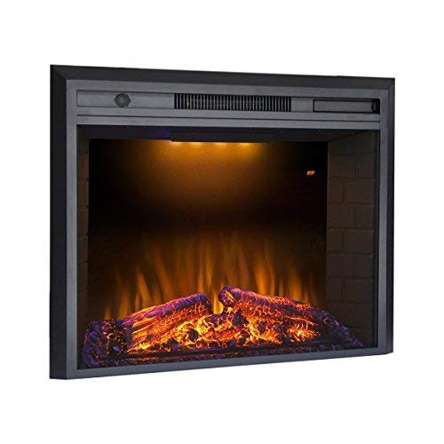 Valuxhome 36 Inches Electric Fireplace Recessed Fireplace Heater with Remote Control, Log Speaker, 1500W, Black (Electric Fireplace Insert 36 Inch)