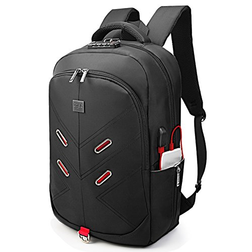 17 Inch Laptop Backpack w/ TSA Lock USB Charging Port Headphone Hole Luggage Strap,DTBG Anti-theft Water Resistant Men Women Business Travel Bag College Backpack Fits Up to 17.3