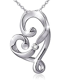 """(Mother and Child's Love) 925 Sterling Silver Infinity Love Knot Pendant Necklace, Rolo Chain 18"""""""
