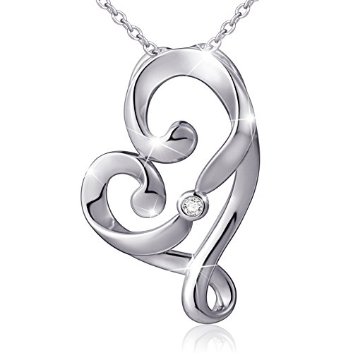 925 Sterling Silver Love Pendant (925 Sterling Silver Infinity Love Knot Pendant Necklace, Rolo Chain 18