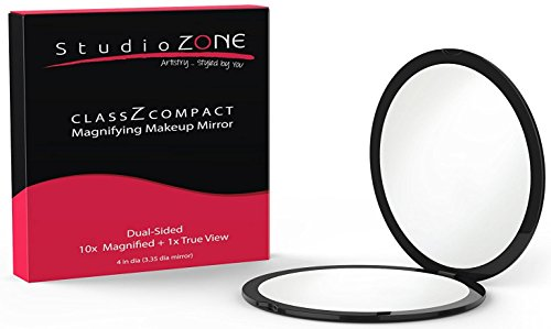 BEST COMPACT MIRROR - 10X MAGNIFYING MakeUp Mirror - Perfect for Purses - Travel - 2-sided with 10X Magnifying Mirror and 1x Mirror - ClassZ Compact Mirror By StudioZONE - Compact Mirror