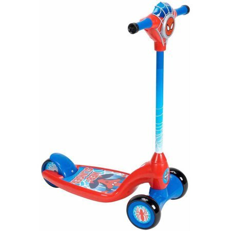 Huffy Boys' Marvel Ultimate Spider-Man Lights and Sounds Preschool Scooter 28565, Red/Blue