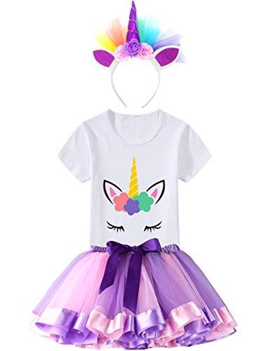 - HBeatific Little Girls Layered Tulle Rainbow Tutu Skirt with Unicorn T-Shirt,Headband and Birthday Sash (Light Purple, S,2-3 T)
