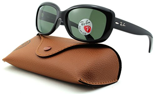 Ray-Ban RB4101 Jackie OHH Polarized Rectangular Sunglasses (Black Frame, Crystal Green Polarized Lens - Polarized Rb4101