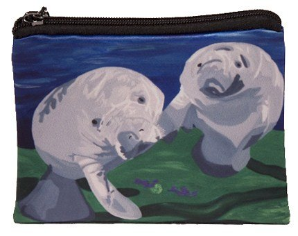 Change Purse, Vegan Coin Purse - Animals - From My Original Paintings - Support Wildlife Conservation, Read How (Animals) (Manatee Purse)