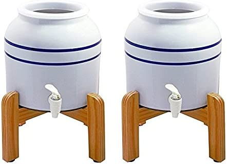 Blue Striped New Wave Enviro Porcelain Dispenser with Wood Counter Stand