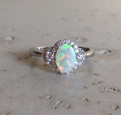 Amazon.com: Deco Opal Engagement Ring- Opal Halo Promise