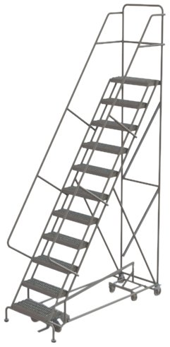 Tri-Arc KDAD111246 11-Step All-Directional Safety Angle Steel Rolling Industrial & Warehouse Ladder with Perforated Tread