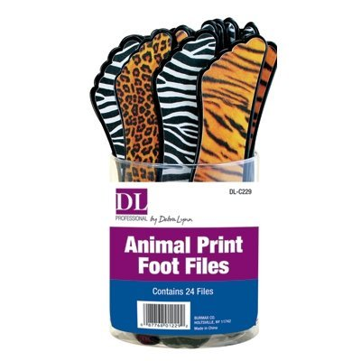DL Professional Animal Print Foot Files (Display of 24) by DL Professional
