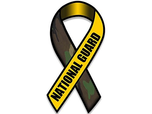 MAGNET Ribbon Shaped NATIONAL GUARD Magnetic Sticker (camo military army decal)