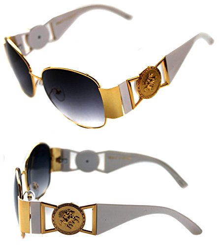 Men's Hip Hop Swag Heavy Metal Gold Coin Medallion Logo Aviator Sunglasses Vintage Hip Hop Rapper (White Gold) - Metal Logo Aviator Sunglasses