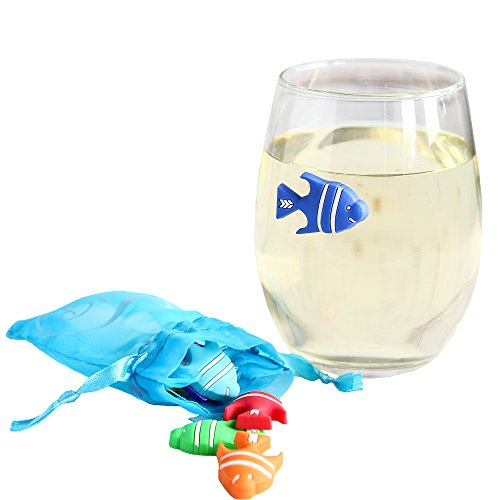 Magnetic Wine Glass Charms Fish Cocktail Markers for Beer, Champagne or Stemless Glassware - Set of 8 - including Wine or Liquor Gift Bag and reusable storage pouch - Great Hostess Gift
