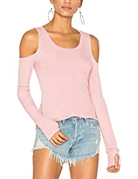 Women's Long Sleeve Knit Top Off Shoulder T-Shirt Thumb Hole Workout Casual Shirt