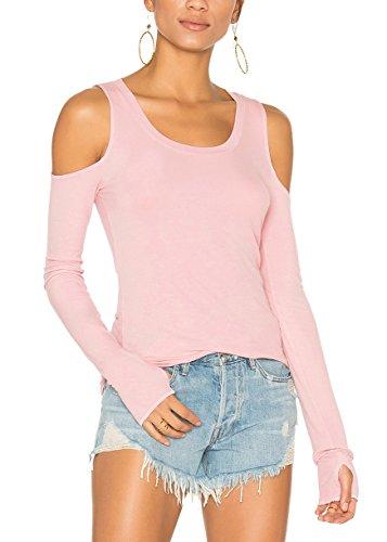Bestisun Women's Solid Lightweight Long Sleeve Knit Top Cold Shoulder Thumb Hole Cute T-Shirt Cute Cute Casual Shirt Pink L