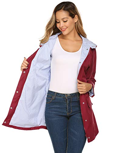 Stripe Line Rain Anorak Women Waterproof Long Trenchcoat for Camping Cycling(Wine Red,M)
