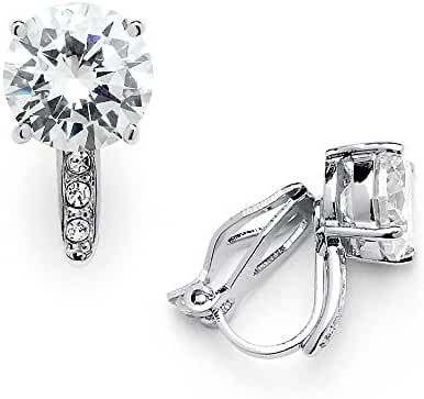Mariell 2.0 Ct. Clip-On CZ Solitaire Stud Earrings (8mm) with Pave Accents - Genuine Platinum Plated