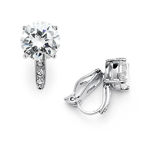 Mariell 2.0 Ct. Clip-On CZ Solitaire Stud Earrings (8mm) with Pave Accents - Genuine Platinum (Clip Cushion Earrings)