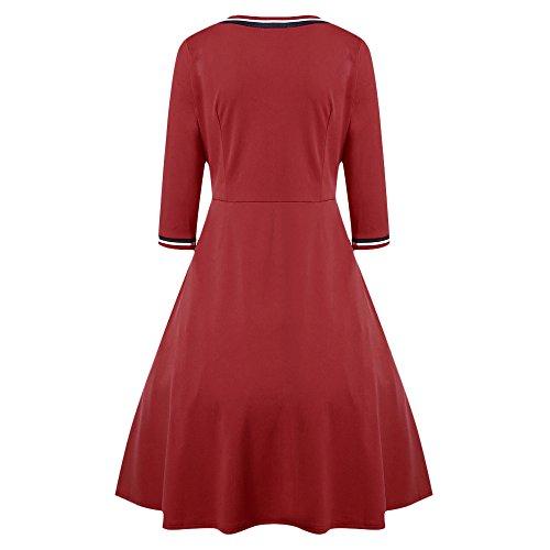 CharMma Red 3 4 Striped Women's Midi V Sleeve Neck Trim Dress Color Varsity Block OxrOn