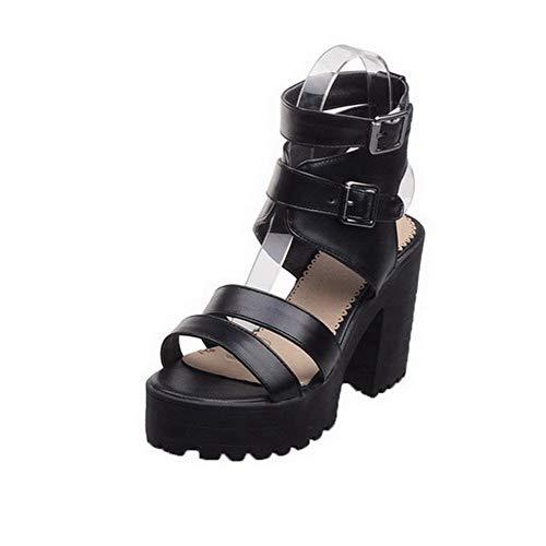 Sandales Boucle Couleur Haut d'orteil TSFLH008046 Ouverture Noir Femme AalarDom Talon à Unie TAqfHzwHY