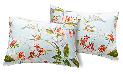 (Argstar Twin/Queen Floral Pillowcases Set of 2, 26'' X 20'', Tree Branch Tropical Flower Pattern Envelope Closure End Standard Size White Pillow Covers)