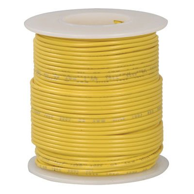 Jameco Valuepro 818-4 Stranded Tinned-Copper Hook-up Wire, 22 AWG, 100' Length, Yellow