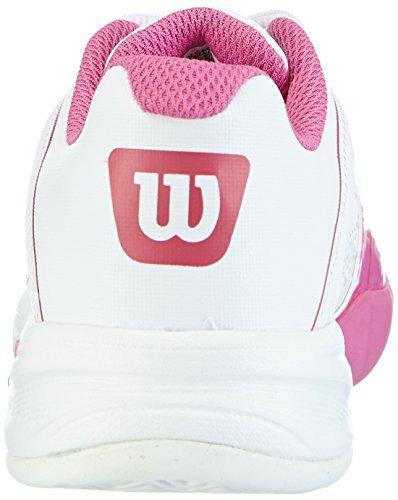 Wilson Rush Pro JR Pro, Zapatillas de tenis, Unisex infantil Blanco / Rosa