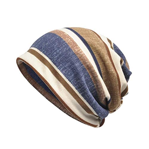 Women's Striped Turban Hat Beanie Chemo Cap for Cancer Patients Scarf Wrap (G) ()