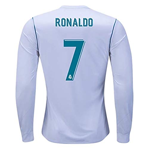 Real Madrid Long Sleeve Jersey - Real Madrid Ronaldo 7 Home 2017-2018 Season Long Sleeve Soccer Jersey Color White Size M