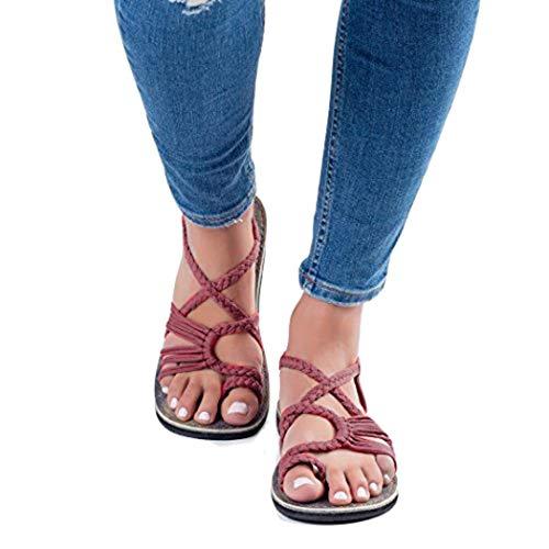 Lioder Flip Flops Sandals Women Fashion Shoes Cross Criss Patchwork Weave Sandals Oceanside Wine Red