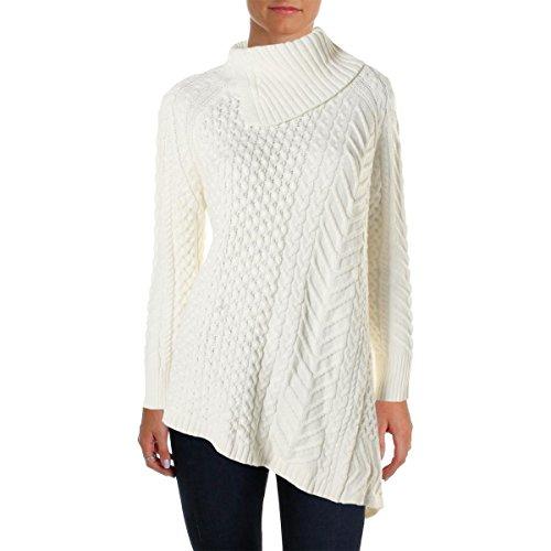 [Vince Camuto Women's Long Sleeve Asymmetrical Hem Turtle Neck Mix Cable Sweater, Antique/White, Small] (Sweaters Sale Cable Turtleneck Sweater)
