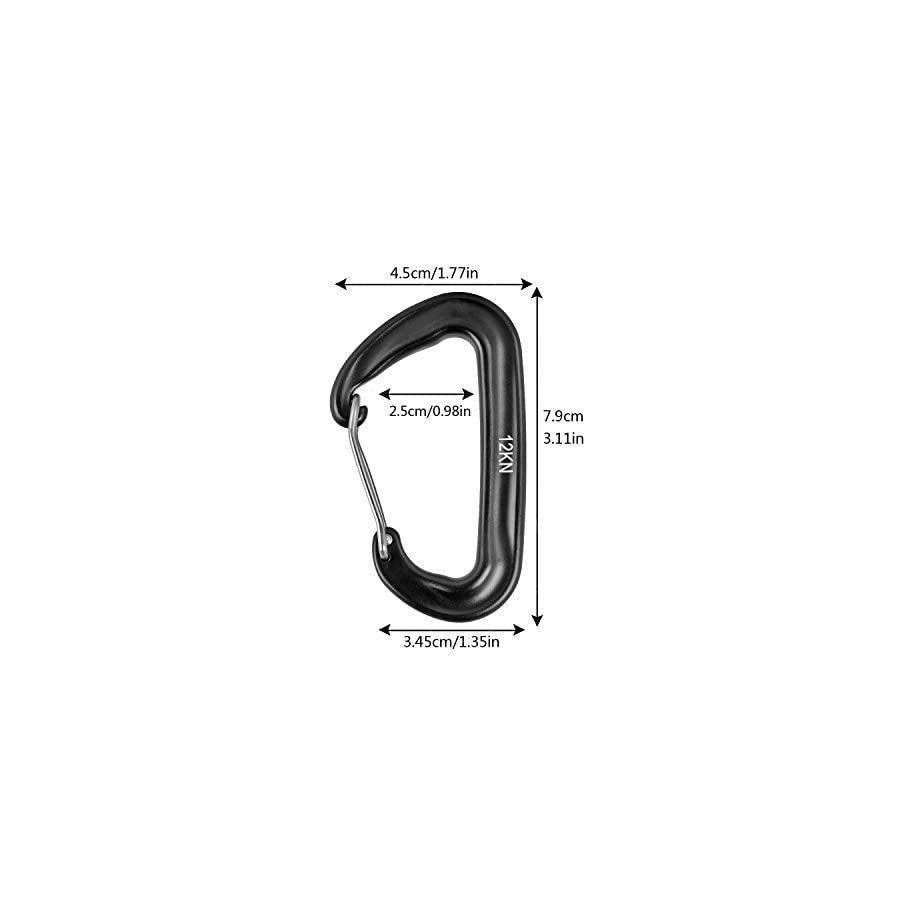 Lucky998 12KN Carabiner Aluminium Wiregate Carabiners 4 Pack Rated 2697 LBS each Heavy Duty Lightweight Carabiner Clips For Hammocks, Camping, Backpacking, Fishing, Hiking, Traveling