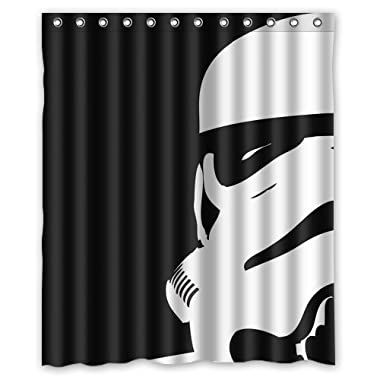 Star War Stormtroopers Pattern Custom Waterproof Polyester Fabric Bathroom Shower Curtain with 12 Hooks 60 (w) x 72 (h)- Bathroom Decor