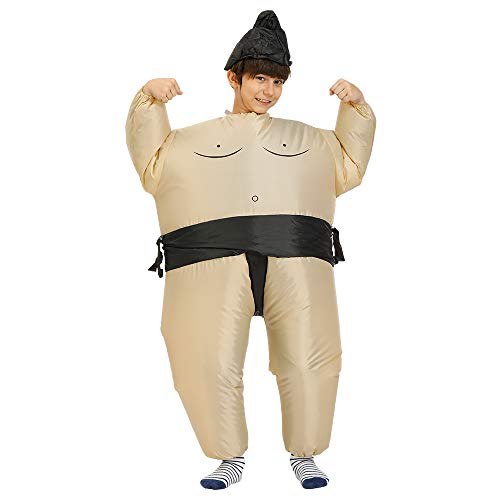 Inflatable Sumo Wrestling Fat Suit Blow Up Fancy Dress Funny Costume Halloween (Sumo for Children)