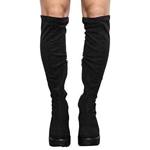 CORE COLLECTION Womens Girls Kids Zip up Block MID Heel Platform Over The Knee Stretch Boots Size 10-5 Black 1MqgepDH