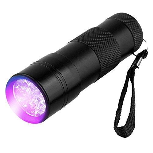 1Pcs Black Mini Portable Camping Aluminium UV Ultra Violet 12 LED Flashlight Blacklight Light 395 nm Inspection Lamp Torch Press ON/OFF Button, 97mm x 30cm (batteries not included)