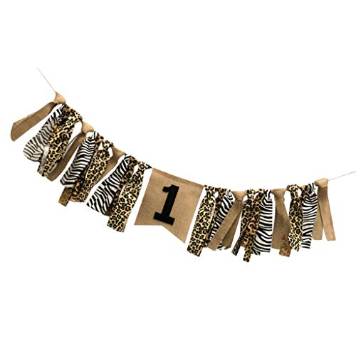 SM SunniMix Shabby Chic Leopard Print Tie Banner 1st Birthday Party Highchair Wall Hanging Home Decor 2.2 Yards - A, 2m ()