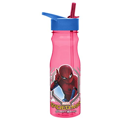 Spider Man Water Bottle - Zak! Designs Tritan Water Bottle with Flip-Up Spout and Straw, Spiderman Homecoming, Break-resistant and BPA-free plastic, 25 oz.