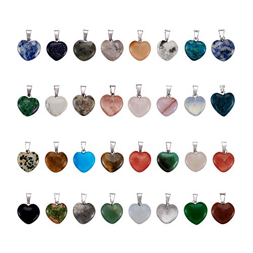 (Fashewelry 50PCS Mixed Stone Heart Style Gemstone Pendant Healing Pointed Chakra Crystal Quartz Pendants Charms for Necklace Jewelry Making)