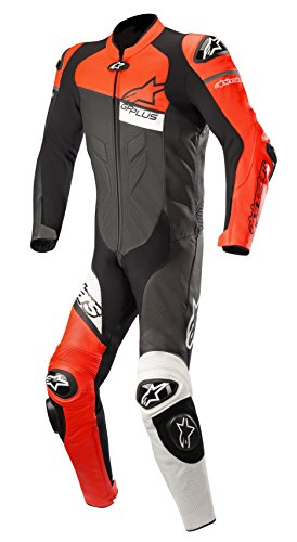 GP Plus Venom Leather Racing One Piece Motorcycle Suit (60 EU, Black Red Fluo White)