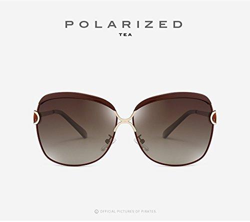 Sol Polaroid Conducción Gafas Mujer Sol para Gafas de Tea Go de Black Gafas UV400 Espejo Sol de Shopping Moda Color Gafas Easy Grandes de de Vintage 6Zqfw
