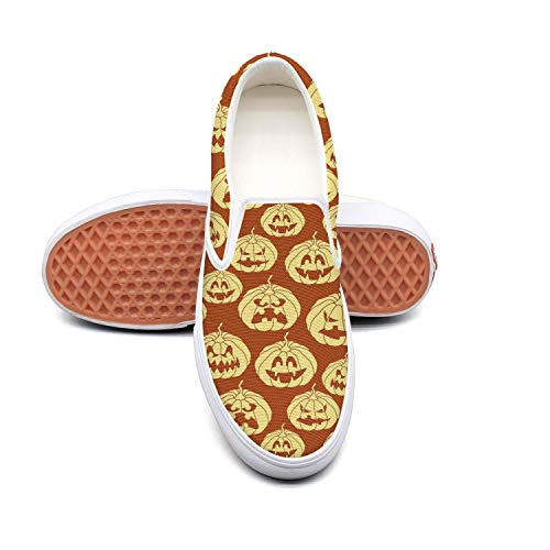 Halloween pumpkin carving face red Classic Men Canvas Slip-Ons Loafer Shoes Sneaker ()