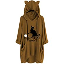 Women's Casual Print Cat Ear Hooded Long Sleeves Tunic Pocket Irregular Top Blouse Shirt