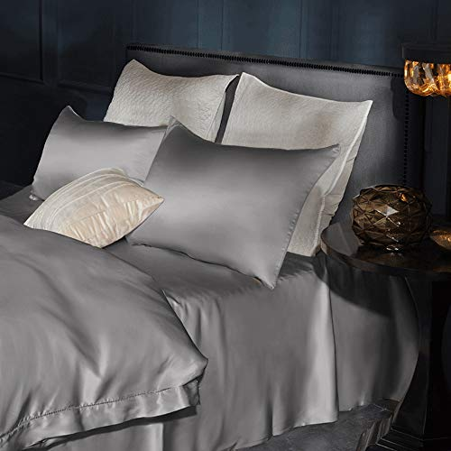 Leccod 2 Pack Silkly Satin Pillowcase for Hair and Skin Cool Super Soft and Luxury Pillow Cases Covers with Envelope Closure (Deep Gray, Queen: 20x30)