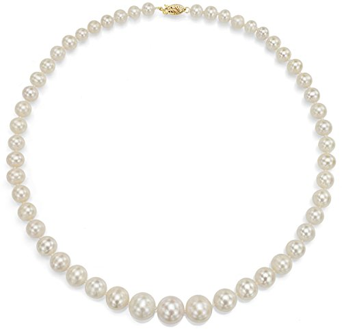 - 14K Yellow Gold White Cultured Freshwater Pearl Necklace Bridal Jewelry Graduated 6-11mm 18 inch