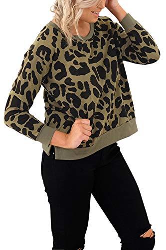 Imprimé Fasumava Casual Femme Kaki Coton Automne Léopard Hauts Printemps Sweat Sr0Swx64q