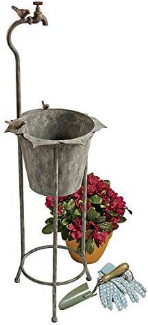 Design Toscano Vintage Faucet Garden Planter, Silver